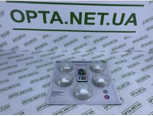 Светильники точечные светодиодные на батарейках и клейкой основе 5 шт с пультом