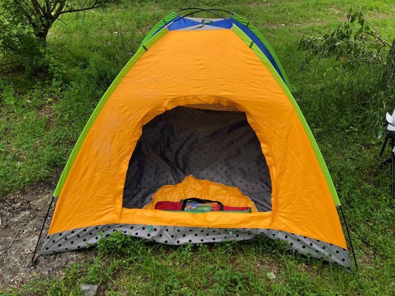 Палатка туристическая 2x2 м best 6 оранжевая-синяя
