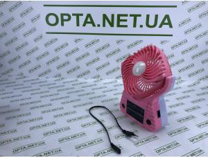 Качественный Ветилятор портативный с солнечной батареей Solar 220В USB батарейка 3хD FANP розовый