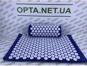 Акупунктурный коврик с подушкой Массажер для спины и ног Синий
