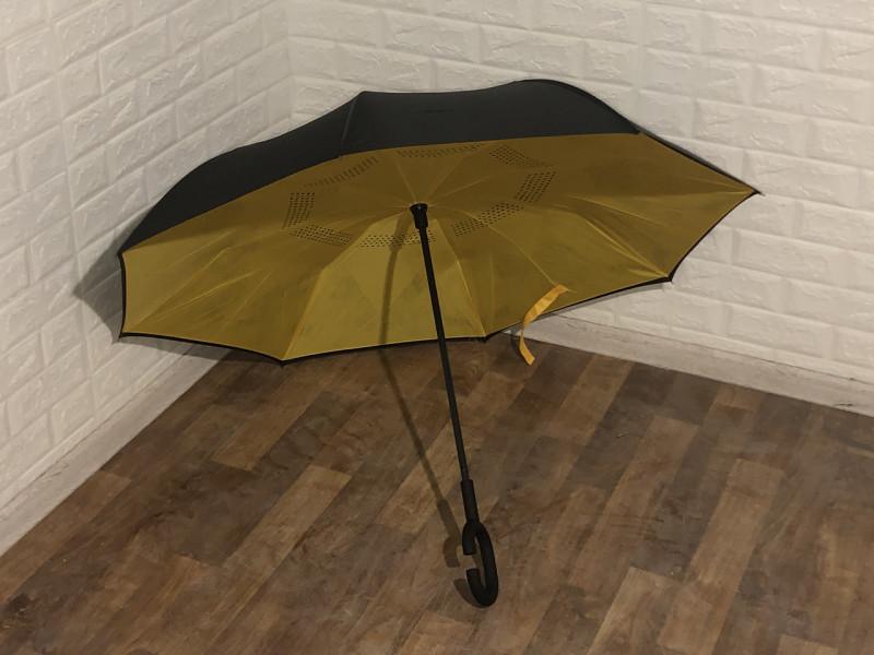 Зонт наоборот (черный-желтый)