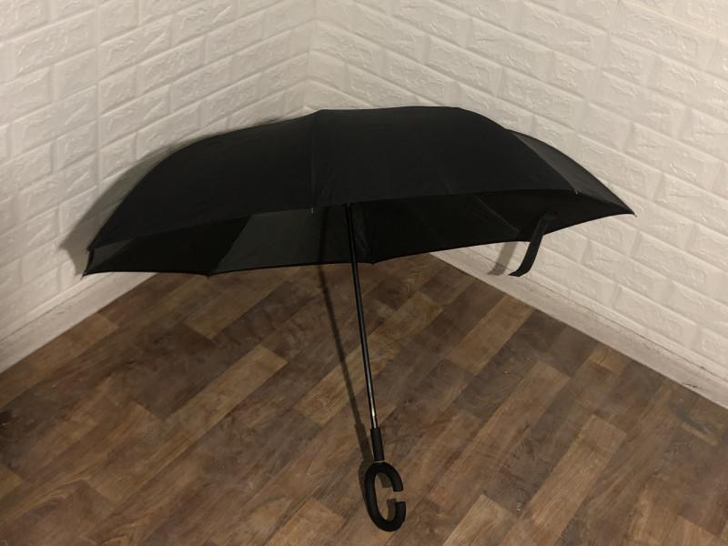 Зонт наоборот (черный-зеленый)