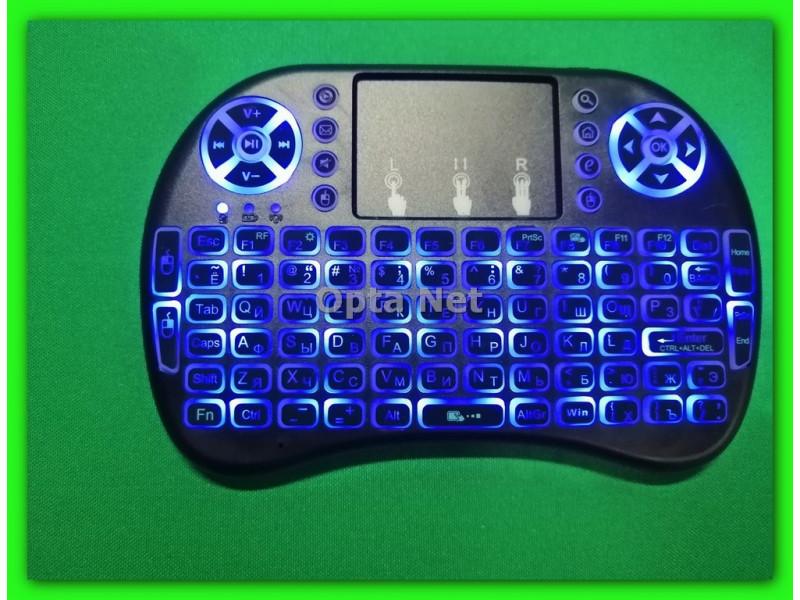 Мини беспроводная клавиатура с тачпадом RT-MWK08 BLUELED подсветка